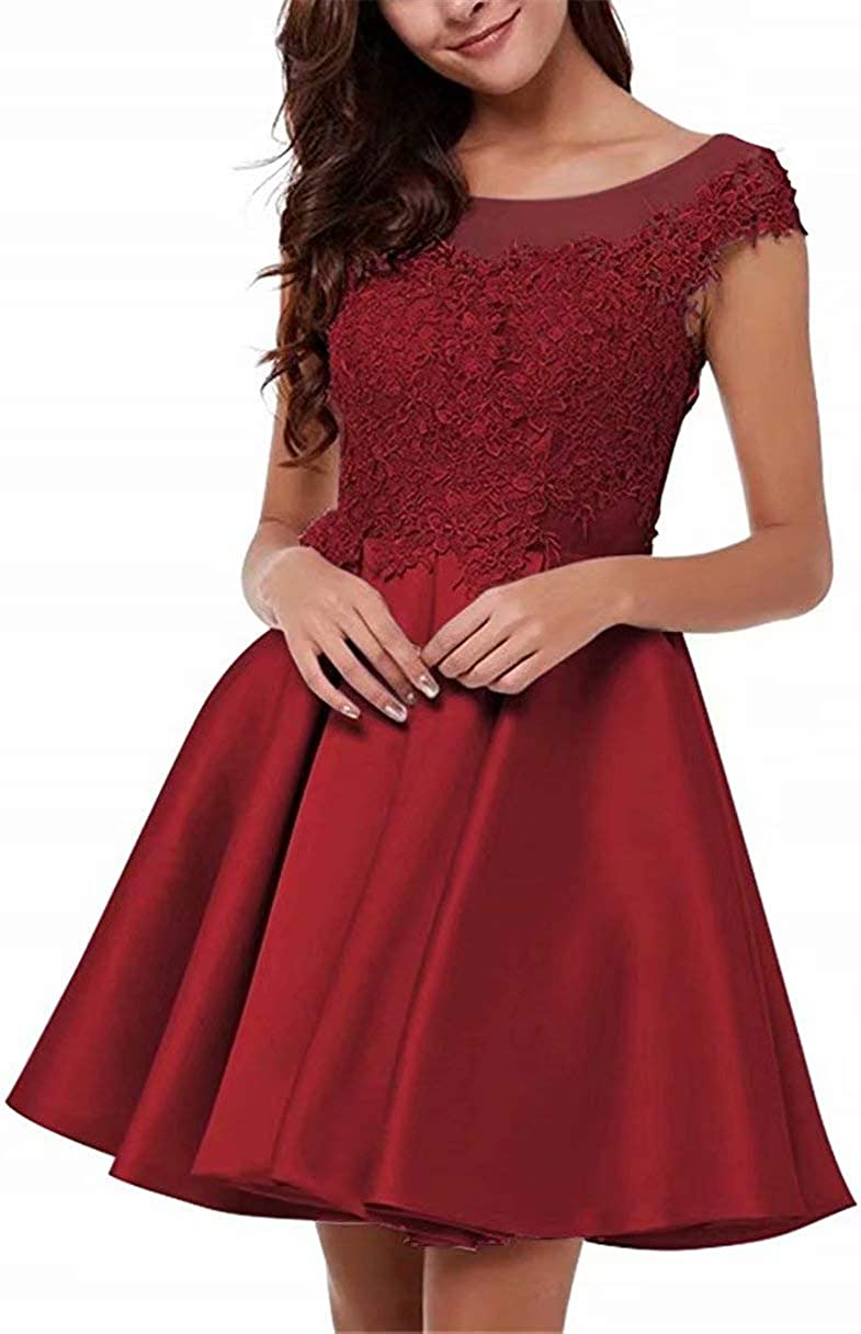 EEFZL Lace Applique Homecoming Dress for Juniors Short Scoop Satin Prom Cocktail Sweet 16 Gown