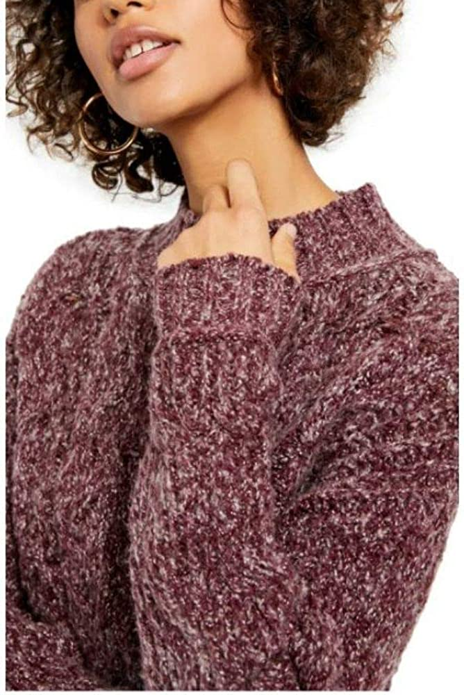 Free People Merry Go Round Women's Cable Knit Mock Neck Long Sleeve Pullover Sweater