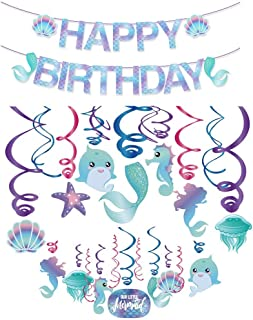 Mermaid Birthday Decorations Mermaid Birthday Party Supplies with Banner, Balloons, Plates, Table Cover Ocean Birthday The...