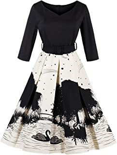 Alician Women Lady 3/4 Sleeve V Neck Elegant Printing Swan Pattern Casual A-Line Expansion Skirt Dress