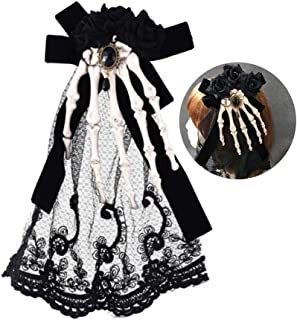 Hair Clip Skeleton Claws Skull Hand Hair Accessories Halloween Favor Dress Up for girl to Prom and Cosplay Fashion Art Headwear (Black butterfly black flower)