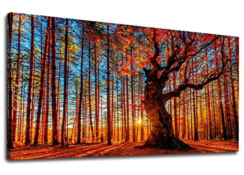 Canvas Wall Art Red Trees Forest Sunset Panoramic Fall Scenery Painting - Long Canvas Artwork Contemporary Nature Picture for Home Office Wall Decor 20' x 40'