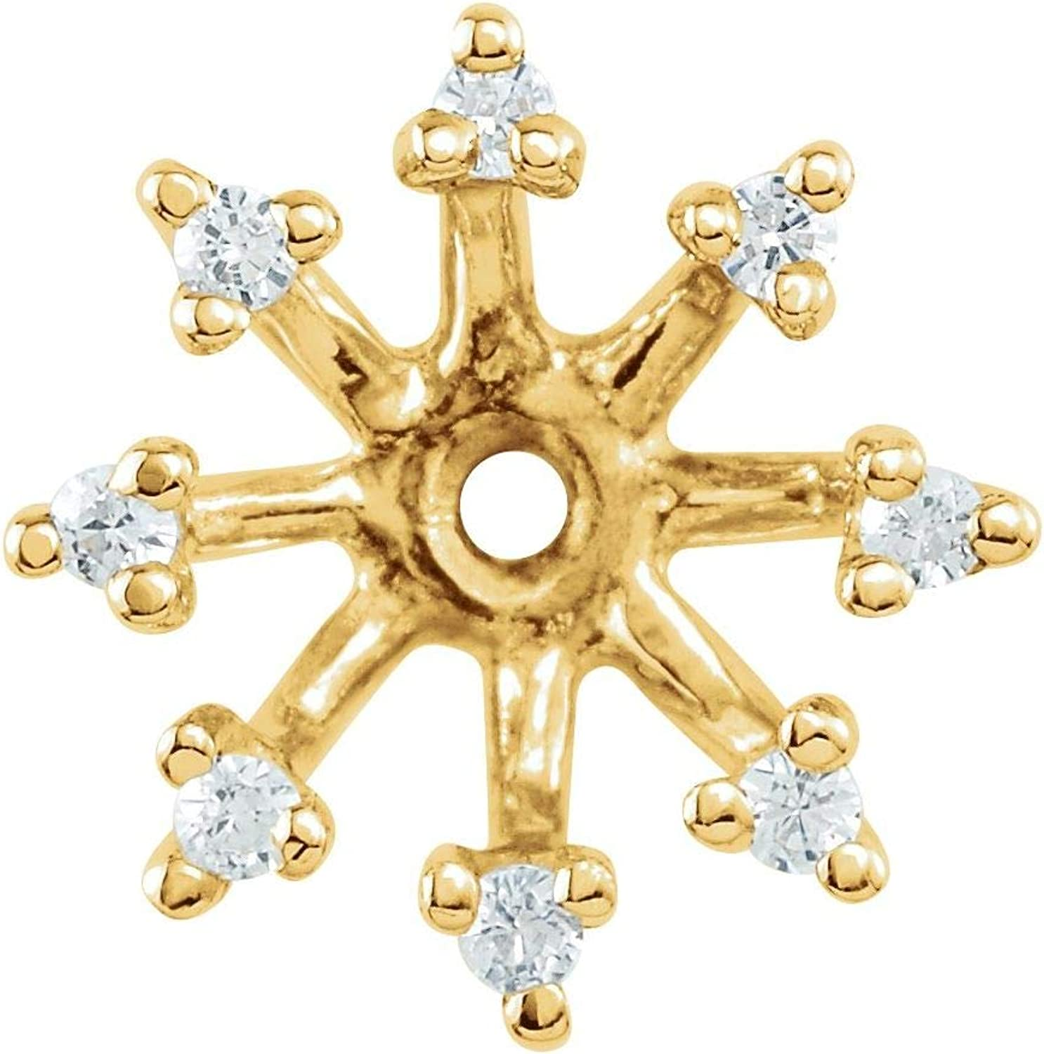 14k Gold 1/6 CTW Diamond Earring Jackets with 6.6 mm ID for Women