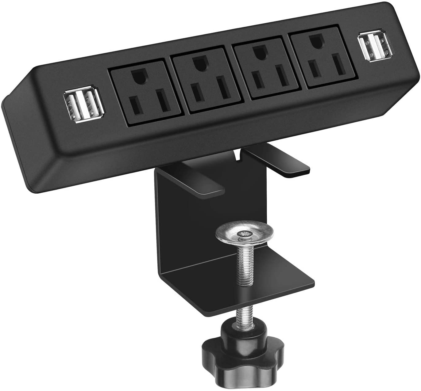 Desk Clamp Power Strip with 4 USB Ports, Desktop Edge Mount Outlets, Removable Desk Mount Multi-Outlets,Power Socket Connect 4 AC Outlet for Home Office Reading