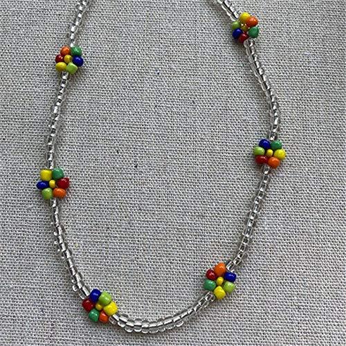 Shangwang - Collar corto perlado hecho a mano colorido, acrílico, flor de margarita, transparente 14