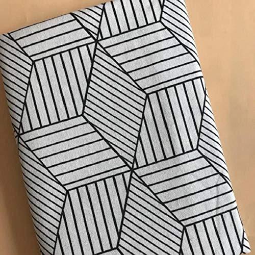 LLine Geometrische Patronen Gedrukt Katoen Linnen Stof Voor DIY Patchwork Naaien Quilten Home Textiel Ambachten Fotoachtergrond Kussen, Wit, 50x70cm