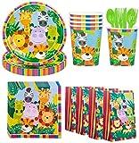 Amycute 116 Pezzi Tema Animali della Giungla Compleanno Kit, Piatti USA e Getta, Bicchieri, Tovaglioli, Sacchetti Regalo, Bambini Festa di Compleanno