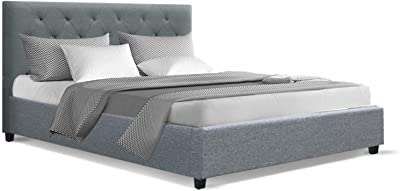 Double Bed Frame, Artiss Fabric Timber Bed Base Van, Grey