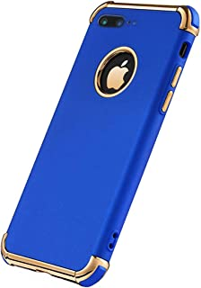 iPhone 7 Plus Case, Ultra Slim Flexible iPhone 7 Plus Matte Case, Styles 3 in 1 Electroplated Shockproof Luxury Cover Case iPhone 7 Plus (Royal Blue)