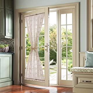 Lazzzy Taupe French Door Panel Curtains Floral Embroidered Sheer French Door Curtain Rod Pocket 1 Tie Back Included 1 Piece 72 Inch Long