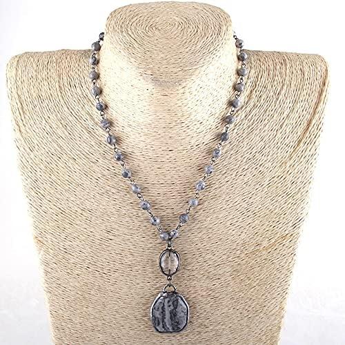 LIPPIP88 - Fashion Jewelry 6mm Natural Stone Chain Stone Pendant