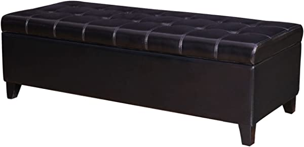 Joveco 51 Rectangle Button Tufted Bonded Leather Storage Ottoman Bench Black