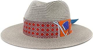 Outdoor Bucket Sun Hat Classic Summer Lady Straw Sun Hat Floppy Hat Wheat Straw Hat Elegant Sombrero Panama Hat Fedora Hat Panama Hat (Color : Gray, Size : 56-58CM)