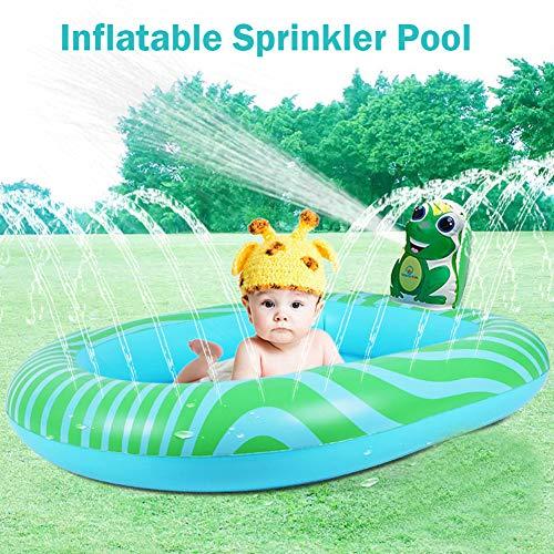 XXCLZ Inflable de riego Agua de la Piscina del Parque acuático para niños Los niños pequeños Kiddie vadear Piscina para niños,Green
