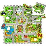 Hakuna Matte Alfombra Infantil Puzzle Diseño Coches 1,2 x 1,2m- 16 Piezas Interconectadas para el...