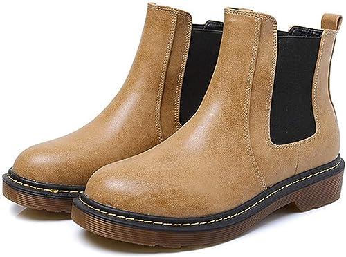 ZHRUI Botines Retro Stiefel Casuales cálidas Stiefel Martin rotondas schuhe Planos (Farbe   4, tamaño   42EU)