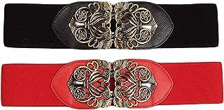 LOCOMO 2 Pack Women Wide Cinch Belt Elastic Stretchy Retro Waistband FAF095