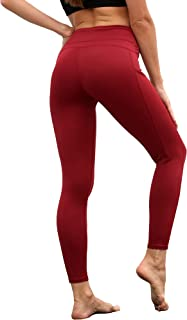 Woolicity High Waist Yoga Pants with Pockets Tummy Control Workout Running Athletic Yoga Legging for Women
