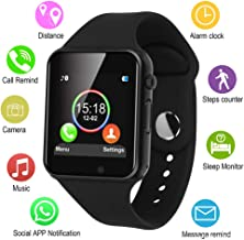 IOQSOF Smart Watches, Touchscreen Bluetooth Smart Watch with Camera, Android Smartwatch, Waterproof Smart Watches Compatible Samsung iOS iPhone X 8 7 6 6S Plus 5 Men Women