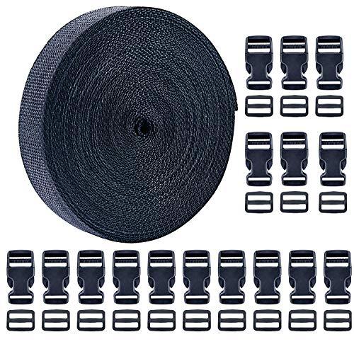 Livder 1 Inch 16 Yards Polypropylene Webbing Strap Band with 16 Set 1inch Side Release Plastic Buckles, Black
