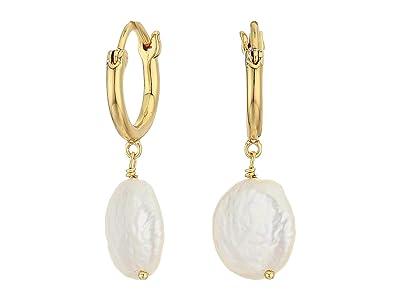 gorjana Reese Pearl Huggies Earrings (White Pearl) Earring