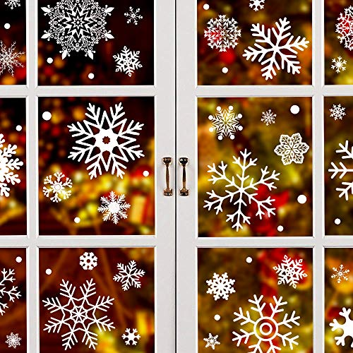 Joinart 284 Pcs Christmas Window Clings Christmas Window Stickers Snowflake Window Clings Decals for Christmas Decorations Holiday Decorations Ornaments Party Supplies 9 Sheets