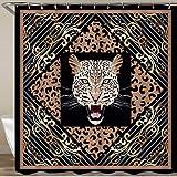 LISNIANY Duschvorhang 180x180cm Wasserabweisend Shower Curtain,Tierischer Leopard mit Goldverzierungen Leo Haut,mit 12 Duschvorhangringen
