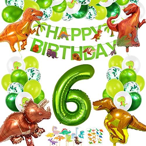 Decoracion Cumpleaños Dinosaurios, Globos de Cumpleaños Dinosaurios, Globo Numero 6 Verde, Globos Dinosaurios, Globos Grandes Gigantes Helio, Globos de Cumpleaños 6 Años