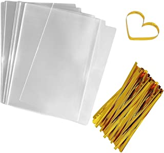 Cellophane Bags Clear Flat Bags 200 PCS Cello Treat Bags Plastic Candy Bags OPP Party Favor Bags for Gift Bakery Cookies Candies Dessert with 200 PCS Metallic Twist Ties (4 by 6 Inch)