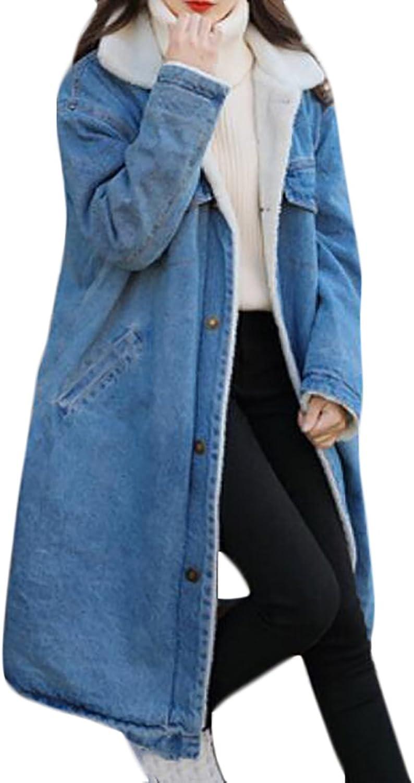 BLTR Womens Autumn Fleece Lined Warm Pocket Lamb Wool Trucker Denim Jacket