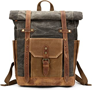 Mwatcher Waxed Canvas Leather College Weekend Travel Rucksack 15in laptops Backpack