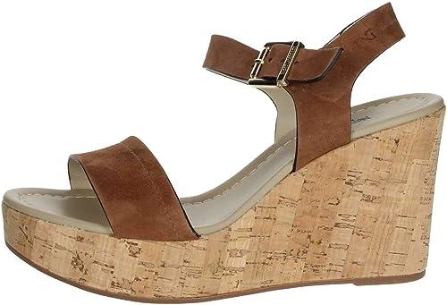 noir Giardini P908142d Cuir Chaussure Sandales Compensées Femme