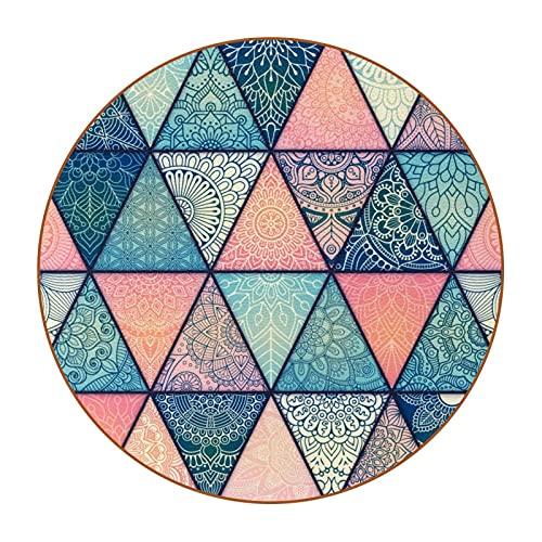 Mandalas sobre fondo azul rosa turquesa púrpura, posavasos reutilizables de cuero sintético para beber, posavasos redondos adecuados para decoración del hogar y la cocina (6 piezas)
