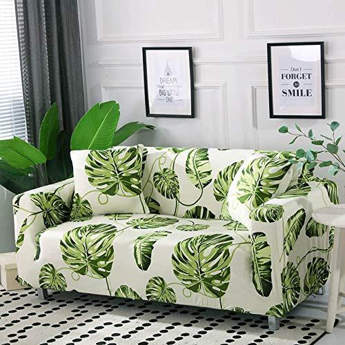 Funda de sofá con diseño de Hoja nórdica, Funda de sofá elástica de algodón, Fundas de sofá universales para Sala de Estar A2, 2 plazas