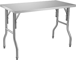 VEVOR Table de Travail Cuisine Pliante Acier Inoxydable 1 Étage Table de Travail Commercial 1220x610mm Table de Travail Ha...