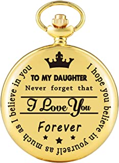 to My Daughter Golden Case Pocket Watch for Girls, Practical White Dial Pocket Watches for Women