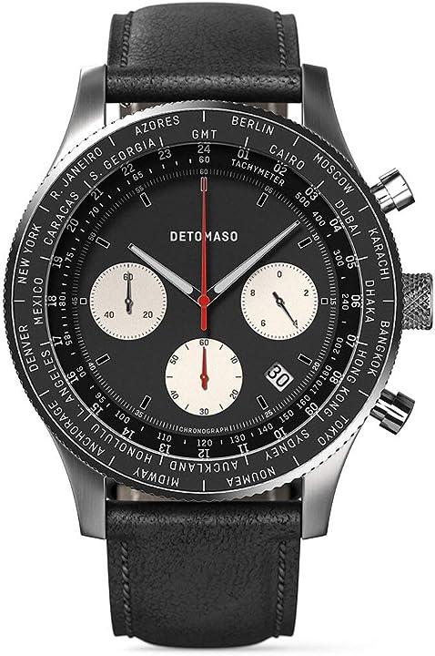 Detomaso firenze - cronografo da uomo, analogico, al quarzo, cinturino in pelle, colore: nero D08-04-04