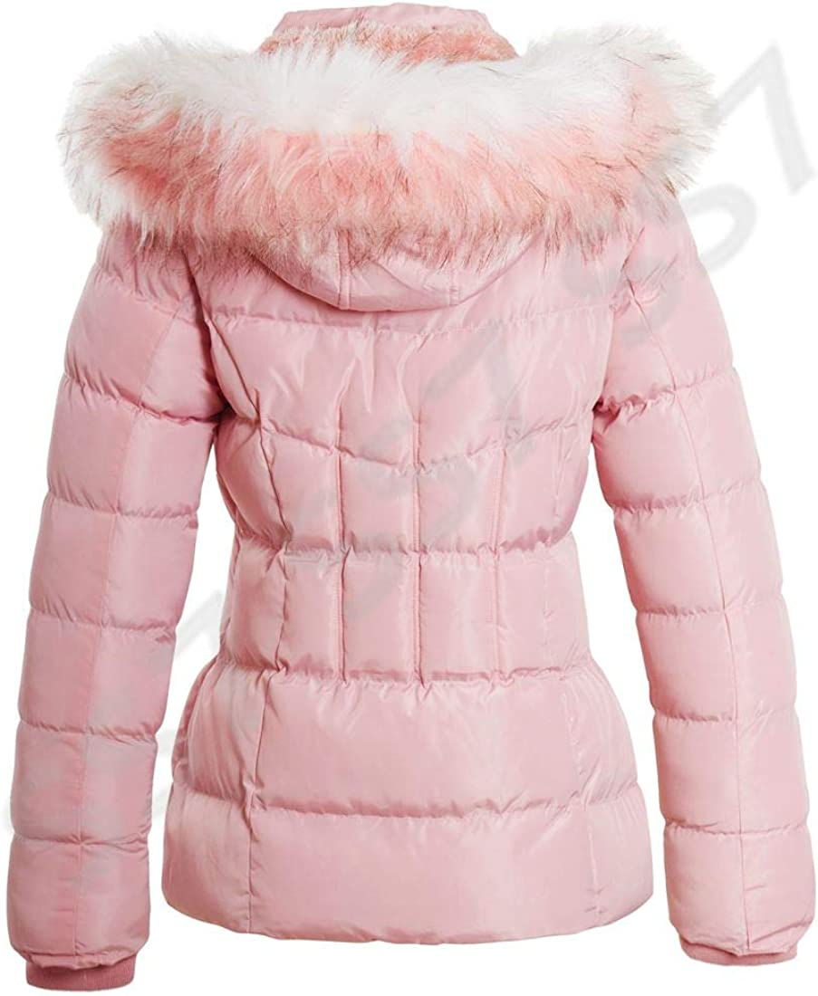 SS7 Mädchen Fleece Lined Padded Parka Mantel aus Kunstpelz Jacke Age 3-16 Rosa