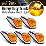 Partsam 5PCS Truck Cab Marker Light 17 LED Amber Top Roof Running Lights w/Chrome Base Truck Trailer Light Replacement for Peterbilt/Kenworth/Freightliner/Volvo/Mack/Autocar Hayes