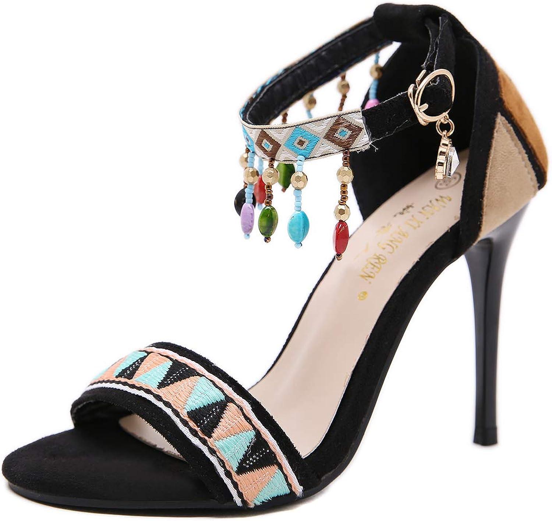 Women's Sandals-National Wind Openwork Toe color Drop Diamond Buckle colorblock Women's shoes
