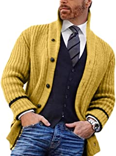 H&E Mens Knitted Down Button Collar Stand Slim Fit Pockets Cardigan Sweater