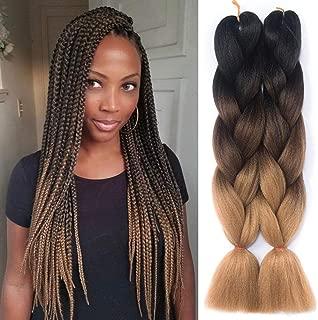 Besteffie 24inch 5pcs/lot Ombre Braiding Hair Kanekalon Synthetic Hair Extensions Synthetic Fiber For Jumbo Braid Hair Bundles Black-Dark Brown-Light Brown