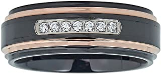 AX Jewelry Mens Natural Diamond 1/6CTTW Black/Rose Tungsten Band