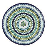 albena Marokko Galerie Marokkanischer Mosaiktisch ø 80cm rund Gartentisch Bistrotisch Terrassentisch Fliesentisch Mediterraner Tisch (Hiawa blau/türkis/Weiss/grün) - 2