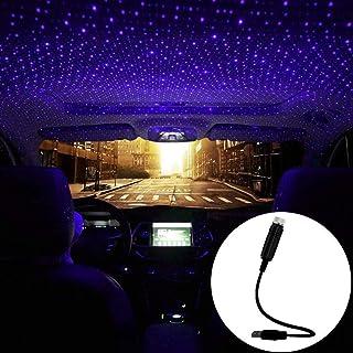 Car USB Atmosphere Ambient Star Projector Night Light Car Interior LED Decorative Lights Adjustable Romantic Car Roof Light Blue Purple Color