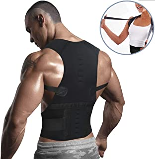 Magnetic Back Braces for Back Pain - Adjustable Posture Corrector for Men & Women - 2 Steel Bone Provides Lumbar Support - Corrective Posture & Relieve Fatigue (Black_(Upgraded Version), Large)