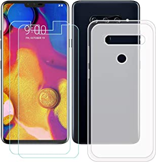 YZKJ Fodral för LG V40 ThinQ Cover Semi-Trasparent silikon skyddsfodral TPU skal skal skal + 2 stycken pansarglas skärmsky...