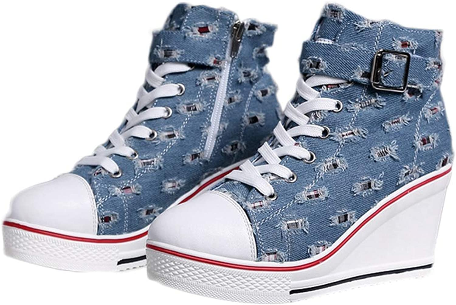 Fullwill Women's Fashion Wedge Sneakers Denim Ankle Bootie High Top Platform Lace up Casual Canvas shoes