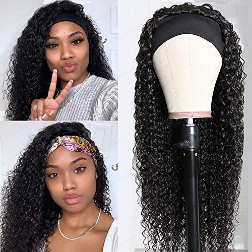 Beauhair Kinky Curly Human Hair Headband Wigs for Black Women (20 inch) Glueless None Lace Front Human Hair Wigs Brizilian Virgin Hair Kinky Curly Machine Made Headband Wig Human Hair Wigs