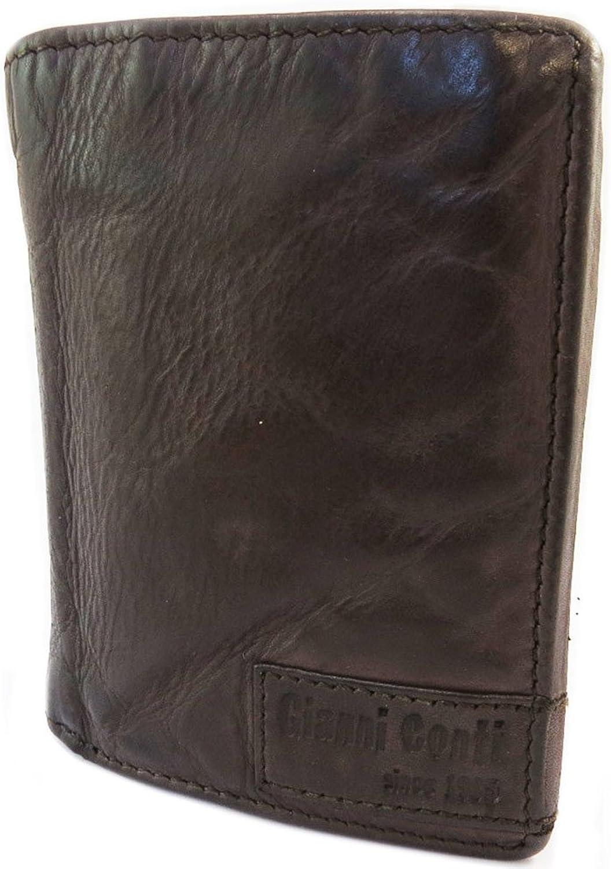 Gianni Conti [P3031]  Leather wallet 'Gianni Conti' dark brown vintage  11x8.5x3 cm (4.33''x3.35''x1.18'').
